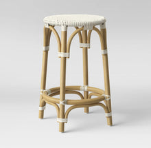 Load image into Gallery viewer, Perry Rattan Backless Woven Counter Stool Cream