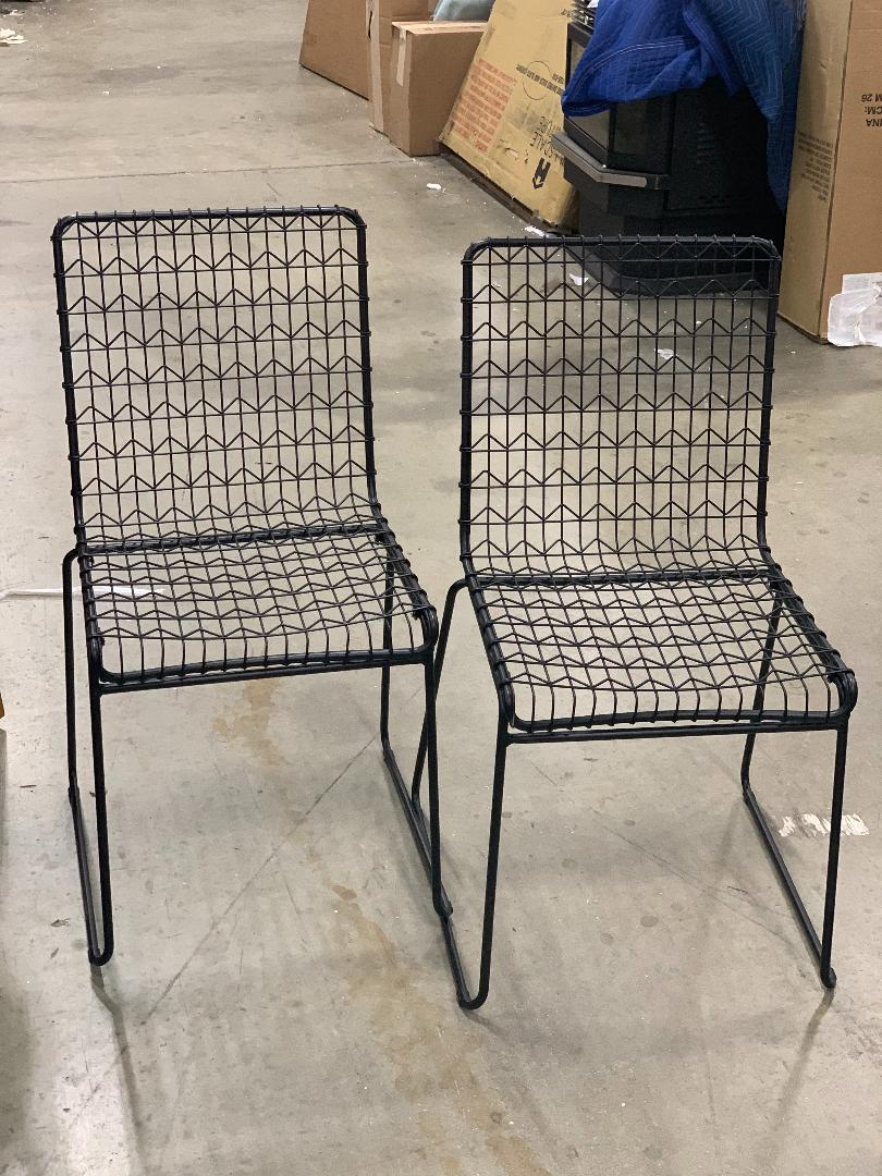 Set of 2 Oster Wire Dining Chair Black