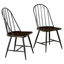 Set of 2 Milo Mixed Media Wood Top Chair Metal/Black - TMS #4327