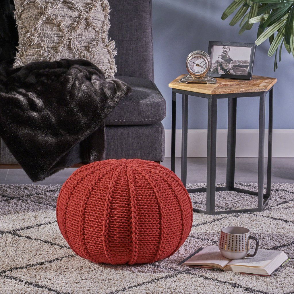 Corisande Knitted Cotton Pouf - Christopher Knight Home Shop all Christopher Knight Home #9042