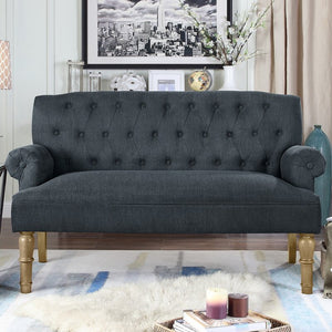 "Bjorn 59"" Rolled Arm Settee, Color/Fabric: Dailyvelvet Slate Polyester, #6562"