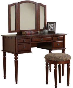 Torrance Vanity Set with Stool and Mirror, Color: Cherry, #6586
