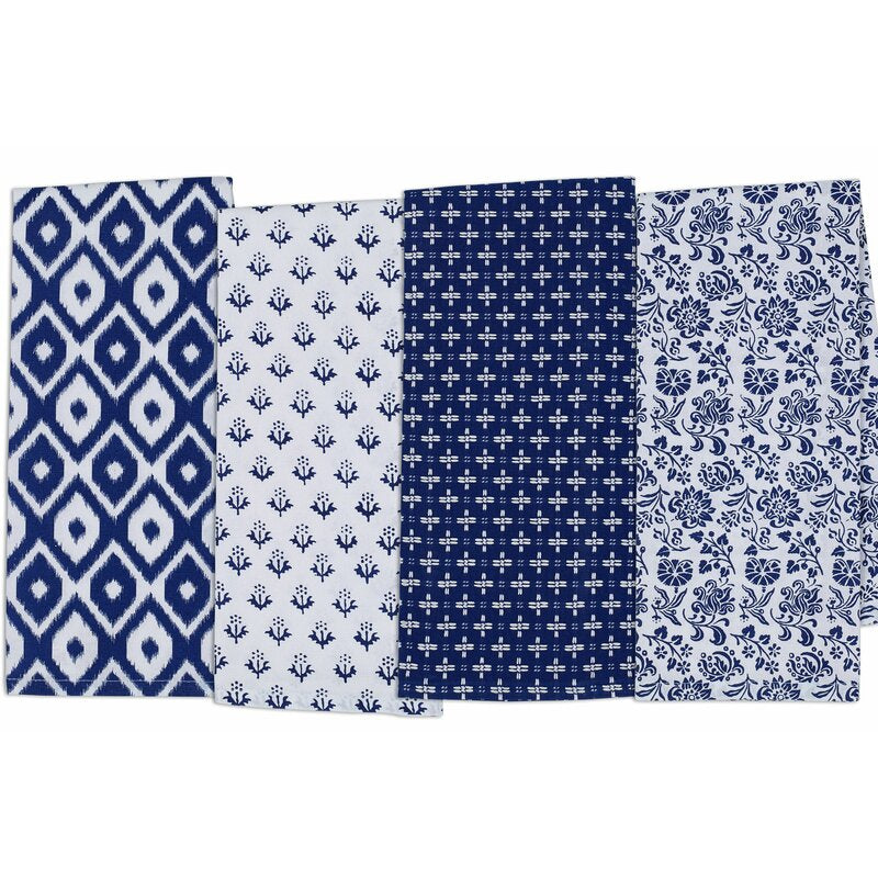 Blue and white 4 Piece Tea Towel Set, #6588