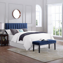 Load image into Gallery viewer, Myra Full/Queen Upholstered Panel Headboard, Color: Blue, #6589