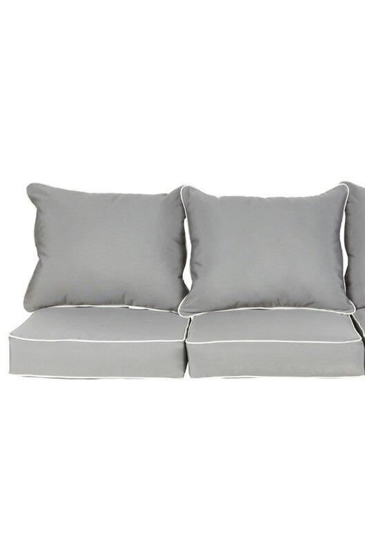 Saechao Indoor/Outdoor Sunbrella Sofa Cushion (Set of 2), Color: Gray, #6604