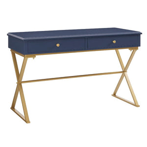 Linon Modern/Contemporary Matte Writing Desk, Color: Blue/Gold Matte, #6703