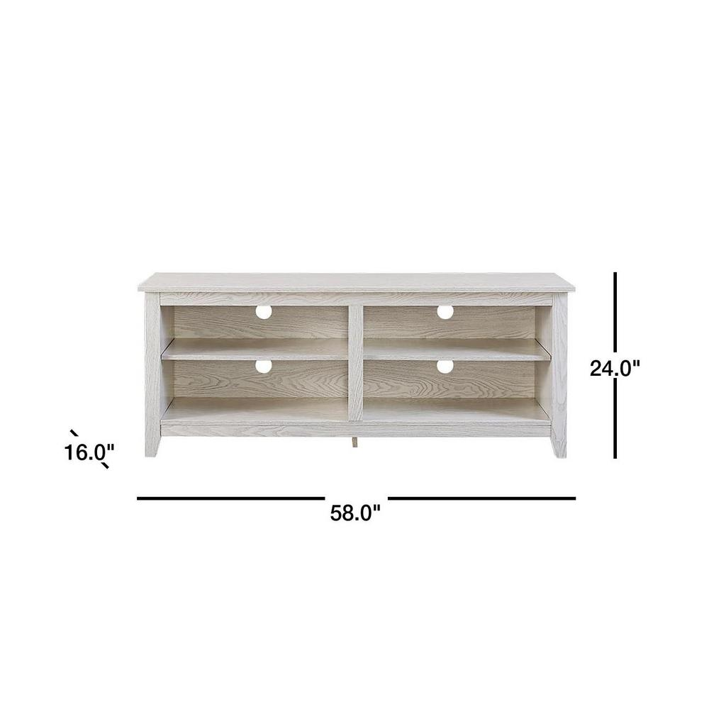 Engineered Wood TV Stand with Adjustable Shelves, Color: Rustic White, #6732