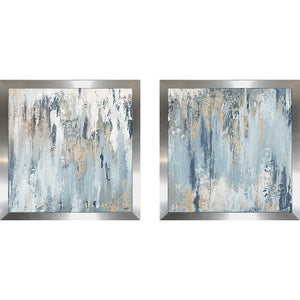 'Blue Illusion Square' 2 Piece Acrylic Painting Print Set, #6770