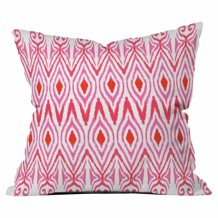 Ikat Watermelon Outdoor Throw Pillow- set of 2 Pink 18