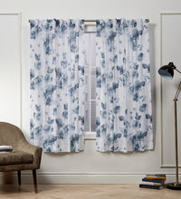 Load image into Gallery viewer, Kristy Floral Semi-Sheer Tab Top Curtain Panels- Indigo Blue #9882ha