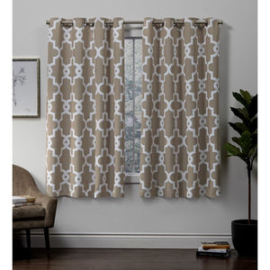 Bedelia Sateen Woven Geometric Room Darkening Thermal Grommet Curtain Panels- White #9899ha
