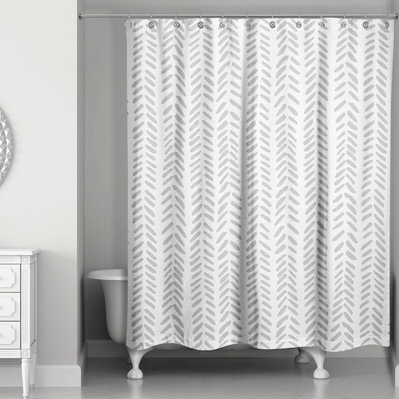 Ferrao Modern Herringbone Single Shower Curtain- Grey #9936ha