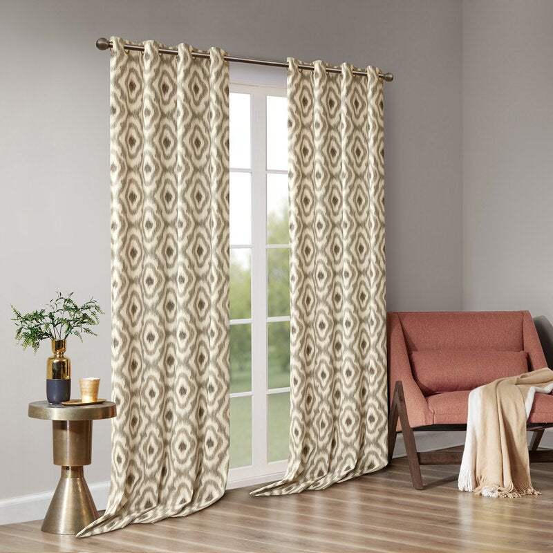 Letchworth 100% Cotton Ikat Semi-Sheer Grommet Single Curtain Panel- Taupe #9938ha