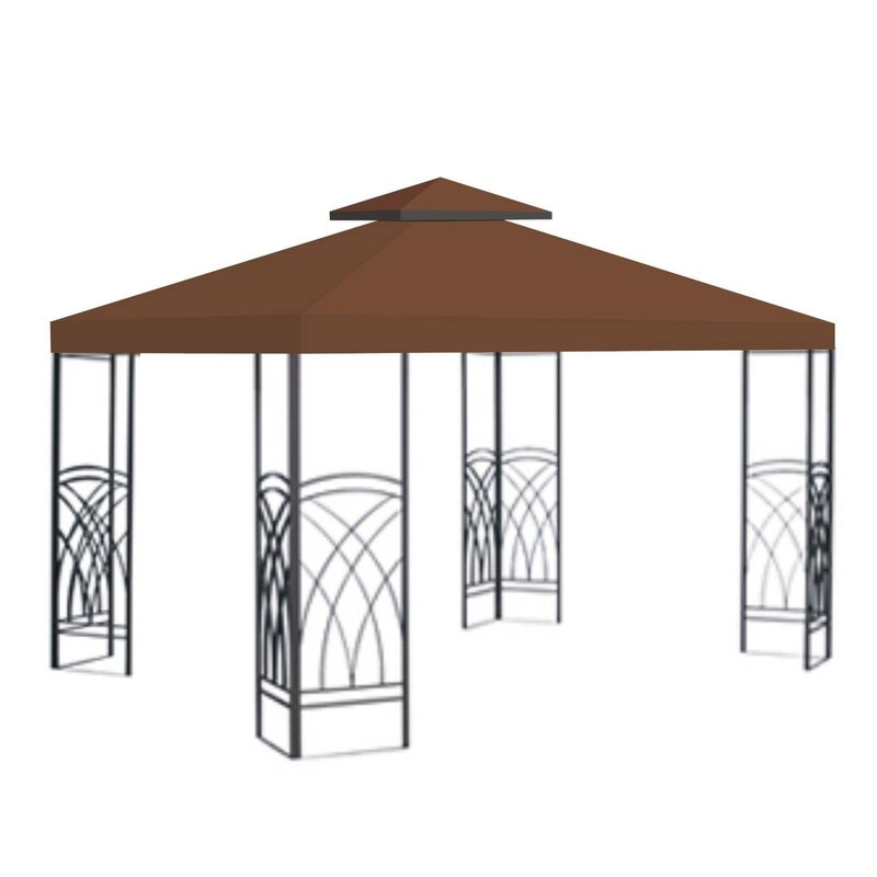 Replacement Sunshade Double Tier Canopy Top Patio Pavilion Cover- Brown #9942ha