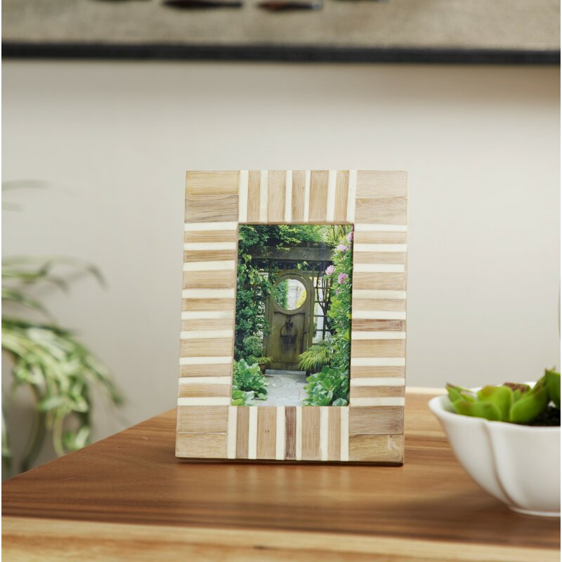 Ahern Rectangular Striped Resin and Wood Picture Frame (Set of 2) HA9746