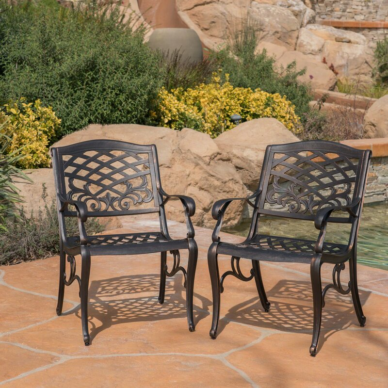 Viga Outdoor Cast Aluminum Dining Chair (Set of 2) 2070