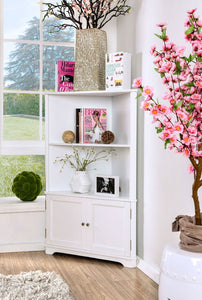 Cavan Corner Bookshelf with 2-Doors in White 9012