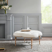 Load image into Gallery viewer, Daulton Tufted Cocktail Ottoman in Ivory Fabric with Wheat Solid Wood Legs #9919