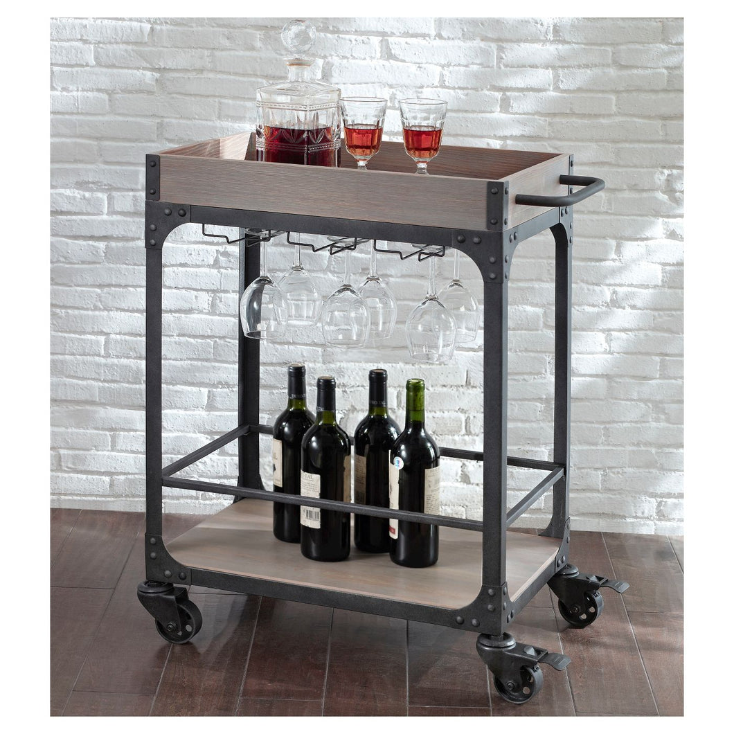 Franklin Bar Cart and Wine Rack Weathered Gray 2044