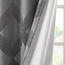 Load image into Gallery viewer, Charcoal Hambrick Ogee Knitted Jacquard Geometric Blackout Thermal Grommet Single Curtain Panel HA9740
