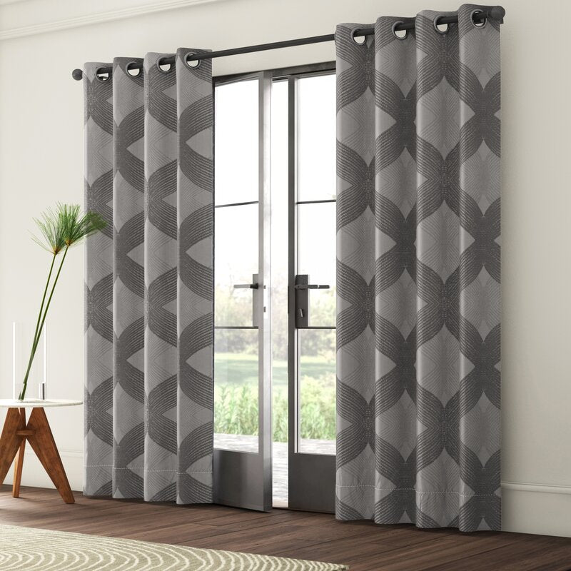 Charcoal Hambrick Ogee Knitted Jacquard Geometric Blackout Thermal Grommet Single Curtain Panel HA9740