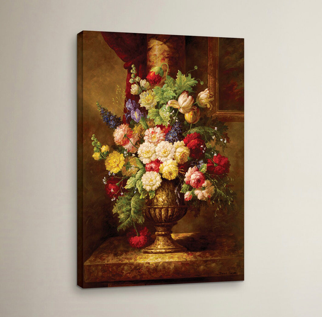 'Reaissance Flowers' Wrapped Canvas Painting Print