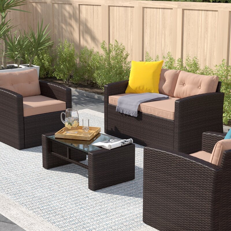 Guion 4 Piece Rattan Sofa Seating Group with Cushions