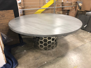 Gray round table with metal honeycomb base
