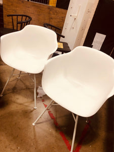 Set of 2 Miller Barrel Dining Chair with Metal Legs- WHITE