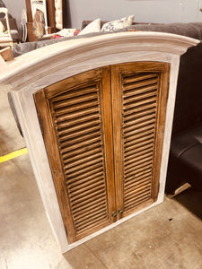 "White/Natural Shutter 39.5"" x 30"" Wall Cabinet"