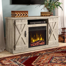 "Load image into Gallery viewer, Ashland Pine Lorraine TV Stand for TVs up to 55"" with Electric Fireplace Included 7666"
