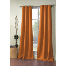 Load image into Gallery viewer, Orange Morton Solid Blackout Grommet Curtain Panels (Set of 2) HA9743