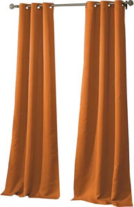 Orange Morton Solid Blackout Grommet Curtain Panels (Set of 2) HA9743