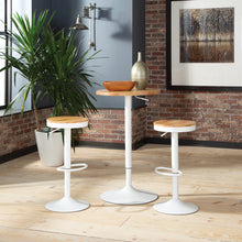Load image into Gallery viewer, Adjustable White Metal Stool with Natural Wood Set of 2, 2051