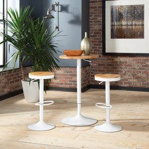 Adjustable White Metal Stool with Natural Wood Set of 2, 2051
