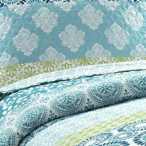 Full/Queen Quilt + 2 Shams Blue/Green Tamela Reversible Quilt Set #CR1075