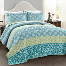 Load image into Gallery viewer, Full/Queen Quilt + 2 Shams Blue/Green Tamela Reversible Quilt Set #CR1075