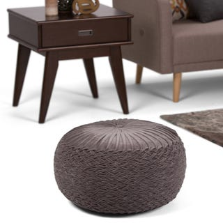 WYNDENHALL Faye Transitional Round Pouf in Grey Velvet #9048