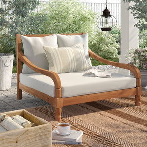 Teak Brown/Beige Wiest Double Chaise Lounge with Cushion 9007
