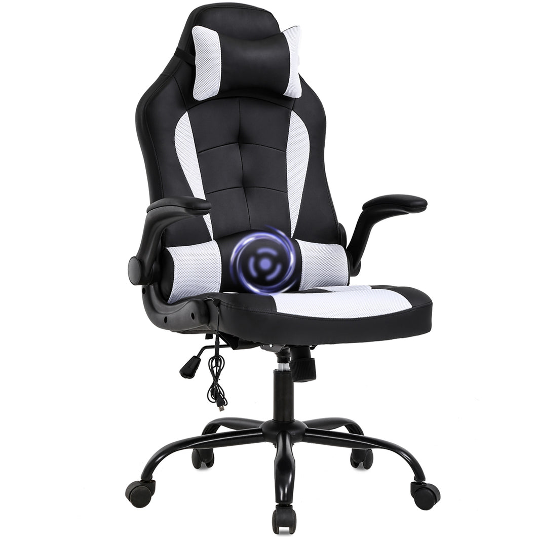 PC Gaming Chair Massage Office Chair Ergonomic Desk Chair Racing Executive PU Leather Computer Chair with Lumbar Support Headrest Armrest Task Rolling Swivel Chair for Women Adults, White 7544