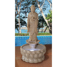 Load image into Gallery viewer, Earth Witness Buddha Large Stone Bonded Resin Illuminated Garden Fountain 7541