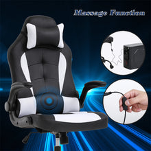 Load image into Gallery viewer, PC Gaming Chair Massage Office Chair Ergonomic Desk Chair Racing Executive PU Leather Computer Chair with Lumbar Support Headrest Armrest Task Rolling Swivel Chair for Women Adults, White 7544