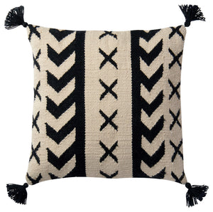 "18""x 18"" Indoor/Outdoor Black / Ivory Throw Pillow by Loloi #CR1070"