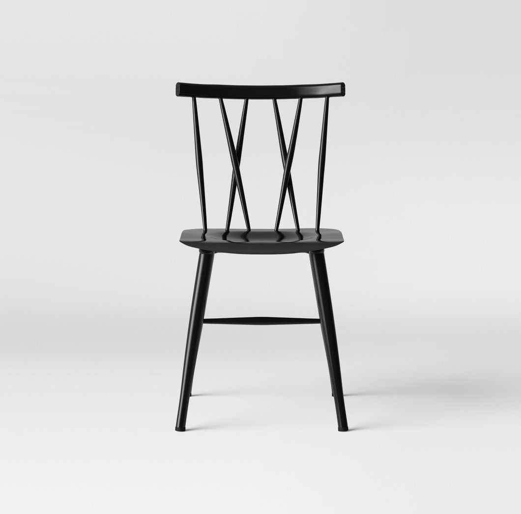 Becket Metal X Back Dining Chair Black #4161