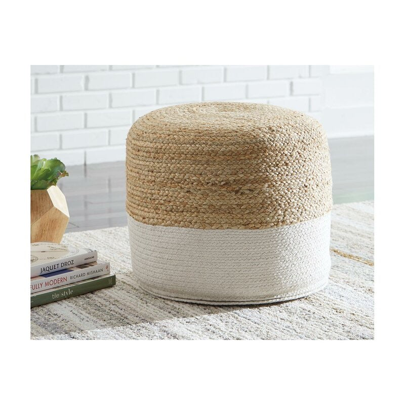 "Michaela 20.5"" Round Striped Pouf Ottoman #277-NT"