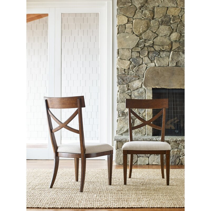 Upstate X-Back Upholstered Side Chairs Set of 2 Brown(1839RR)