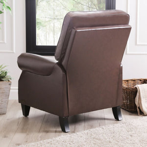 Faux Leather Manual Pushback Recliner Brown #290HW