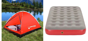 Wakeman 2-Person Water Resistant Dome Tent - Red/Gray + Coleman QuickBed Single High Air Mattress Twin(556-2boxes)