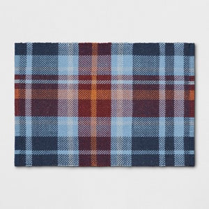 Threshold 2X3 Plaid Woven Accent Rug Blue(1671RR)