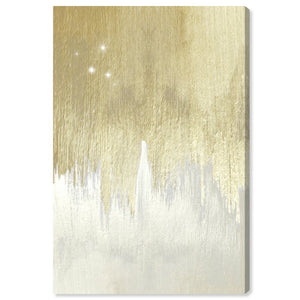 'Golden White Starry Night' - Wrapped Canvas Painting Print - #43CE